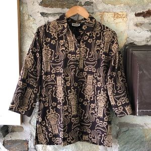 Chicos Brown Patterned Button Up, Sz 0